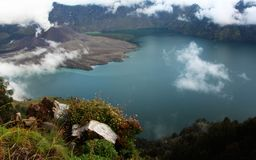 Carter lake of mt Rinjani looking down on the volcano Stock Image