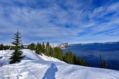 Carter Lake, OU et la neige Images libres de droits