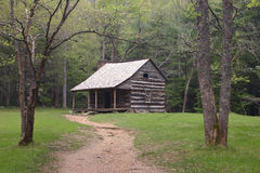 Carter Shields Cabin. Cades Cove nature loop,Great Smoky Mountains royalty free stock photo