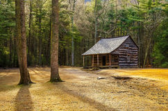 Carter Shields Cabin, Great Smoky Mountains. Morning light and frost on the ground at the old Carter Shields Cabin in the Great Smoky Mountain National Park in Royalty Free Stock Photography