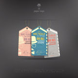 Carter tags. Set of colorful paper tags for big sale announcement over black background. vector banner design vector illustration