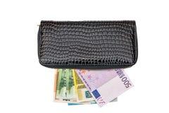 Cartera cercana para arriba con el dinero euro aislado Imagen de archivo