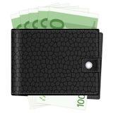 Cartera con cientos billetes de banco euro Fotografía de archivo libre de regalías