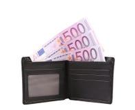 Cartera con cinco billetes de banco del euro de los centenares Fotografía de archivo libre de regalías