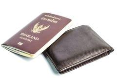 Cartera con el pasaporte Fotos de archivo libres de regalías