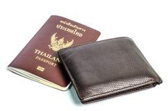 Cartera con el pasaporte Foto de archivo