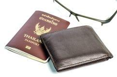 Cartera con el pasaporte Imagenes de archivo