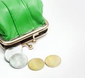 Cartera con las monedas Imágenes de archivo libres de regalías