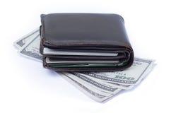 Cartera con las tarjetas y el efectivo de crédito Imagen de archivo libre de regalías