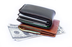 Cartera con las tarjetas y el efectivo de crédito Imágenes de archivo libres de regalías