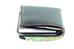 Cartera con las tarjetas y el efectivo de crédito Imagenes de archivo