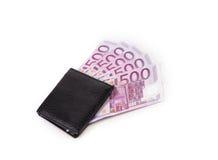 Cartera con los billetes de banco Fotos de archivo