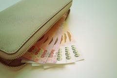 Cartera con los billetes de banco Foto de archivo