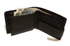 Cartera con los billetes de banco Rusia Imagen de archivo