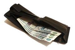 Cartera con los billetes de banco Rusia Imagenes de archivo