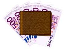Cartera con quinientos billetes de banco euro Imágenes de archivo libres de regalías