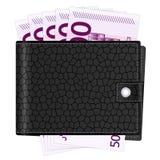 Cartera con quinientos billetes de banco euro Fotografía de archivo libre de regalías