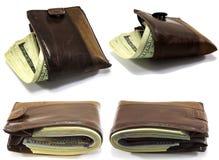 Cartera cuatro con el dinero Imagen de archivo libre de regalías