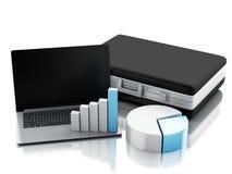 cartera 3d, gráfico de la estadística y PC del ordenador portátil Estafa de la oficina de negocios Imagen de archivo libre de regalías