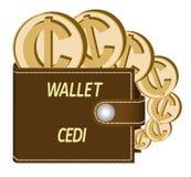 Cartera de Brown con las monedas del cedi stock de ilustración