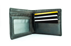Cartera de Brown con las tarjetas de crédito imágenes de archivo libres de regalías