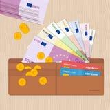 Cartera de cuero por completo de monedas de los billetes de banco y de tarjetas de crédito euro Diseño plano Fotografía de archivo libre de regalías
