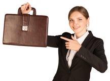 Cartera del control de la mujer de negocios a disposición imagenes de archivo