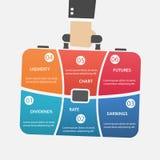 Cartera del vector infographic con el bolso del control de la mano del hombre de negocios Imagen de archivo