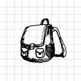 Cartera dibujada mano del garabato Esquema negro de la pluma, fondo del cuaderno Alumno, estudiante, escuela, educación Imágenes de archivo libres de regalías