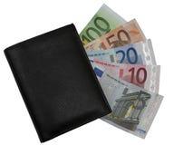 Cartera con euros Fotografía de archivo libre de regalías