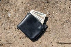 Cartera perdida con el dinero fotos de archivo libres de regalías