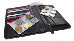 Cartera: tarjetas de crédito, monedas, dinero y billetes de banco Imagen de archivo libre de regalías