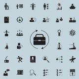 cartera y arrowsicon circular Hora y sistema universal de los iconos de la caza del calor para el web y el móvil ilustración del vector