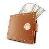 Cartera y billetes de banco Foto de archivo libre de regalías
