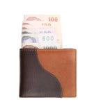 Cartera y billetes de banco en el fondo blanco Imágenes de archivo libres de regalías