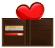 Cartera y corazón Imagen de archivo libre de regalías