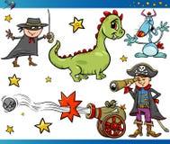 Caráteres da fantasia dos desenhos animados ajustados Imagens de Stock