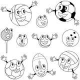 Caráteres das esferas do esporte da coloração Fotografia de Stock