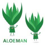 Caráteres do aloés Homem do aloés dos desenhos animados isolado no branco Ilustração do vetor Imagem de Stock Royalty Free