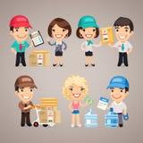 Caráteres do serviço de entrega ajustados Foto de Stock