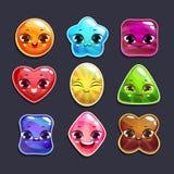 Caráteres engraçados dos doces dos desenhos animados ajustados Foto de Stock Royalty Free