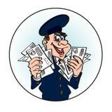 Cartero alegre en el casquillo azul con las letras en sus manos Imágenes de archivo libres de regalías
