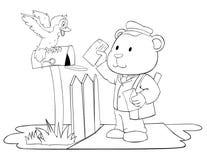 Cartero blanco y negro del oso que introduce la letra al buzón Imágenes de archivo libres de regalías