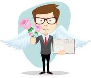 Cartero con las alas y las flores, vector ilustración del vector