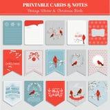 Cartes, étiquettes et labels imprimables - thème de Noël Photos stock