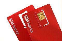 Cartes 2 de Sim Photo libre de droits