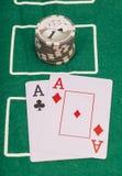 Cartes, as et casino de tisonnier Image stock
