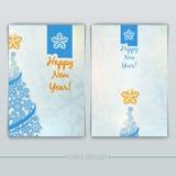 Cartes avec des arbres de Noël des flocons de neige Image libre de droits