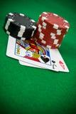 Cartes avec des puces de tisonnier Photo stock