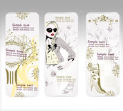 Cartes avec la conception pour des achats de mode Image libre de droits